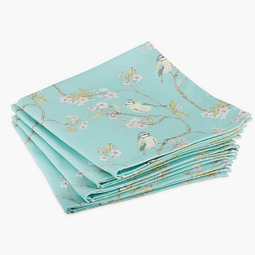 Blue Tit on Blossom Napkins (Turquoise) - (Set of 4)