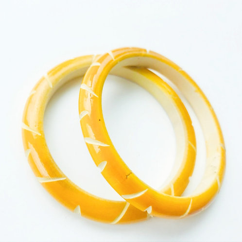 Handmade Wooden Bangles - Yellow