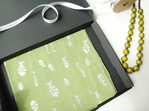Cotton Fish Scarf - Lime