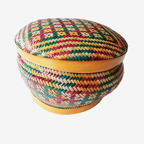 Handwoven Bamboo Basket With Lid - Lagchu Dapa