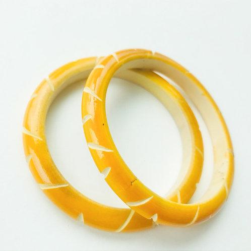 Handmade Wooden Bangles - Yellow