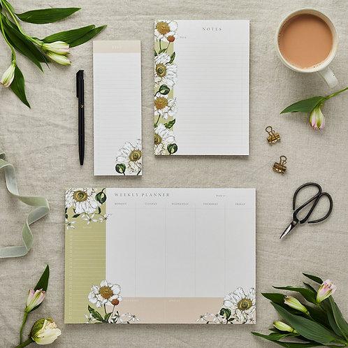 Stationery Trio Set  - Planner, Notepad & List Pad Set - Spring Blossom