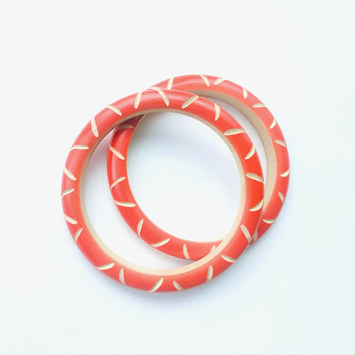 Handmade Wooden Bangles - Orange