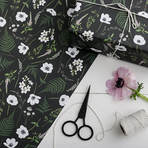 Botanical Wrapping Paper - Wild Meadow (Black)