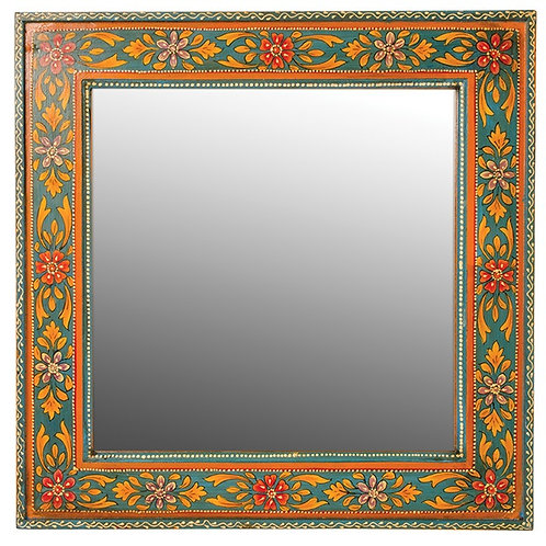 Hand Painted Wooden Square Mirror