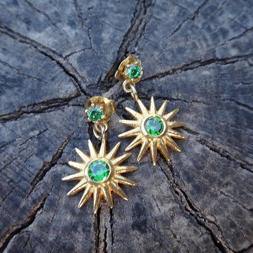Crystal Quartz Drop Earrings - Emerald Green