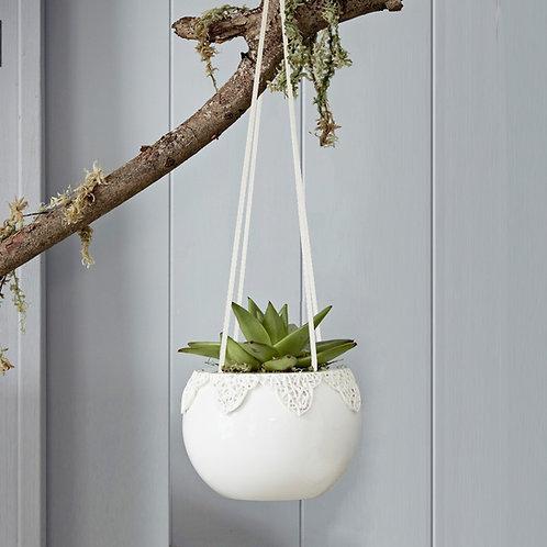 Handcrafted Tangled Appliqué Indoor Hanging Planter