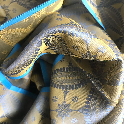 Handwoven Indian Silk Scarf – Turquoise Star