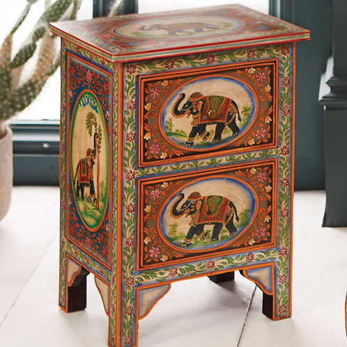 Hand Painted Elephant 2 Drawer Cabinet