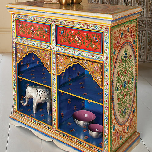 Hand Painted Mango Wood Console / Hallway Table / Bookcase