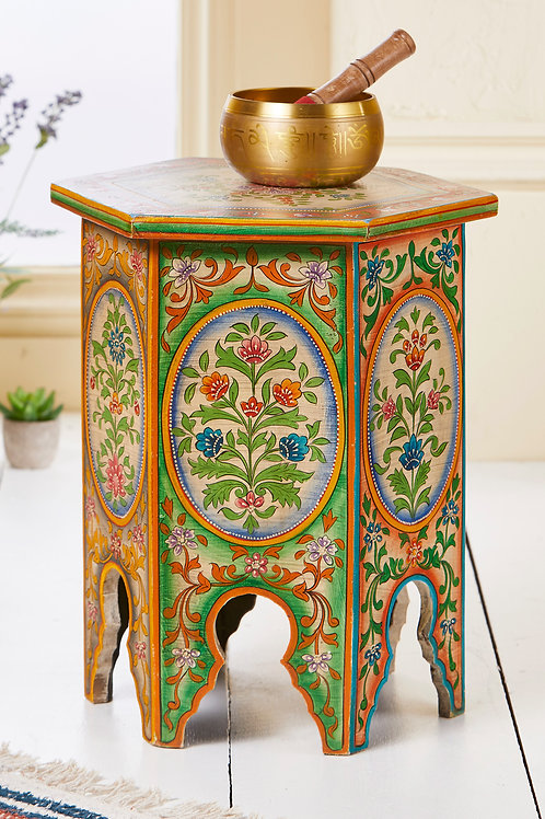 Hand Painted Hexagonal Side Table