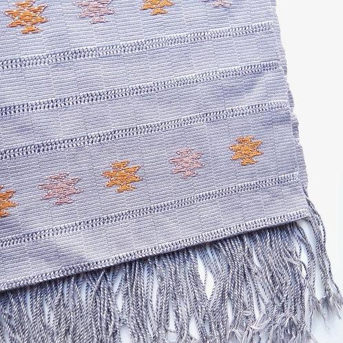 Handwoven Silk Motif Scarf - Grey