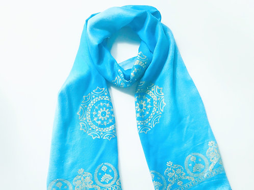 Gold Block Printed Ombre Scarf - Blue
