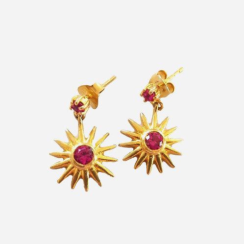 Crystal Quartz Drop Earrings - Ruby Red