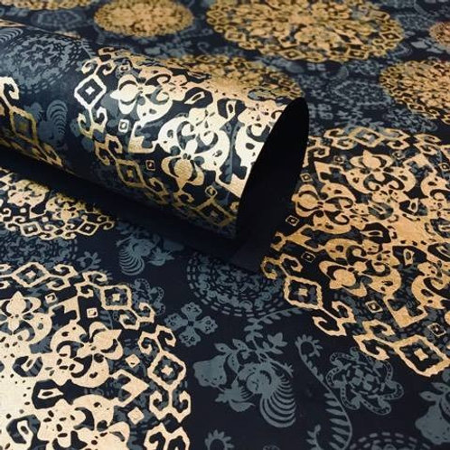 Black Medallion Wrapping Paper