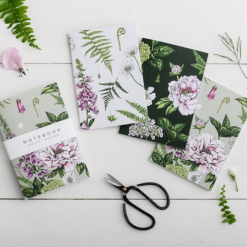 Notebooks - Botanical 'Summer Garden' Collection (Set of 3)