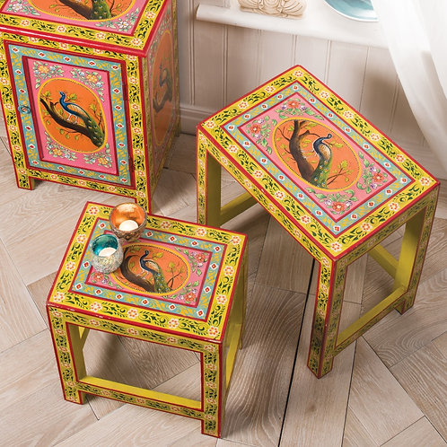 Hand Painted Peacock Design Nest of 2 Tables