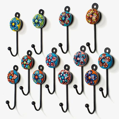 Hand Painted Ceramic Mini Hooks