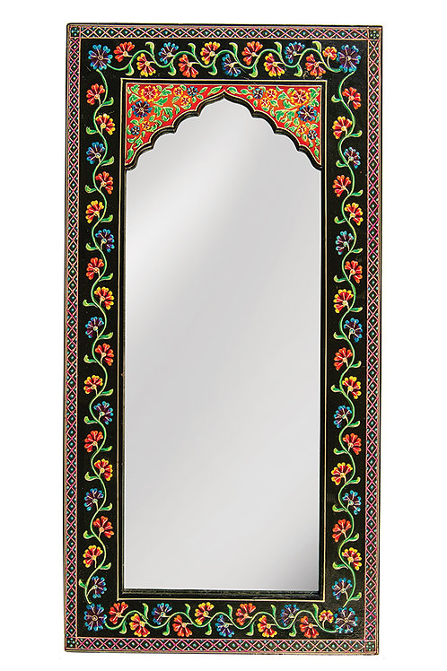 Hand Painted Floral Wall Mirror - Long