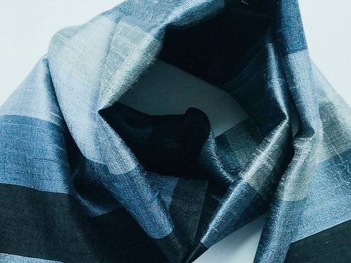 Handwoven Raw Silk Scarf - Silver