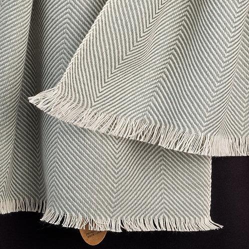 Herringbone Cotton Scarf - Silver Grey
