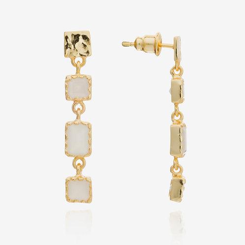 Mosaic Long Gemstone Stud Earrings - White Moonstone