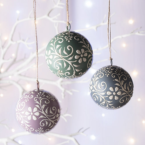 Hand Painted Bauble Hanging Decoration - Set of 6