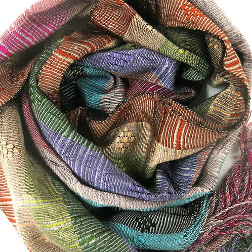 Handwoven Multicolour Silk Scarf