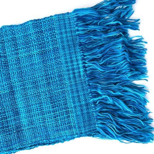 Handwoven Woollen Scarf - Blue
