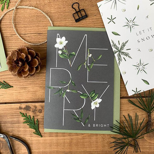 Festive Foliage - Merry & Bright - Christmas Card
