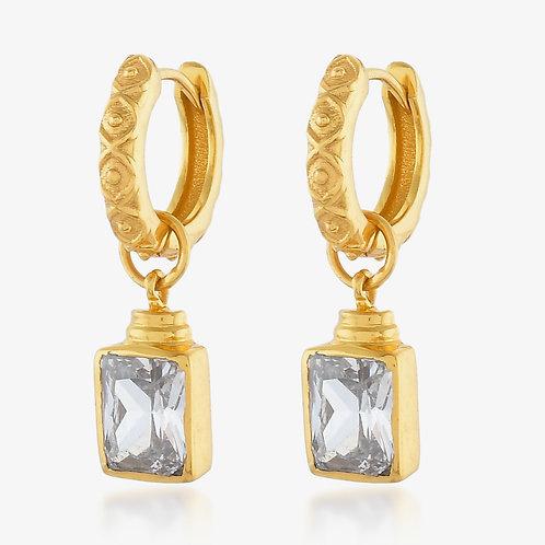 Margot Huggie Crystal Earrings - Emerald Green