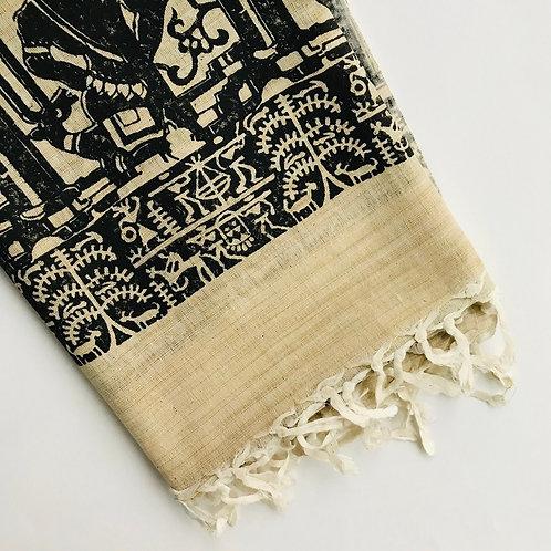 Warli Cotton Scarf - Black & Beige