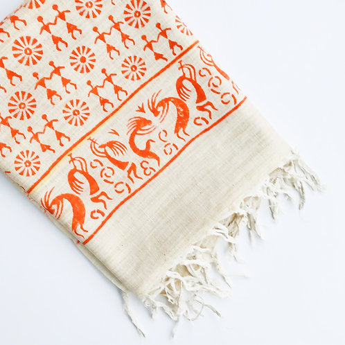Warli Cotton Scarf - Orange