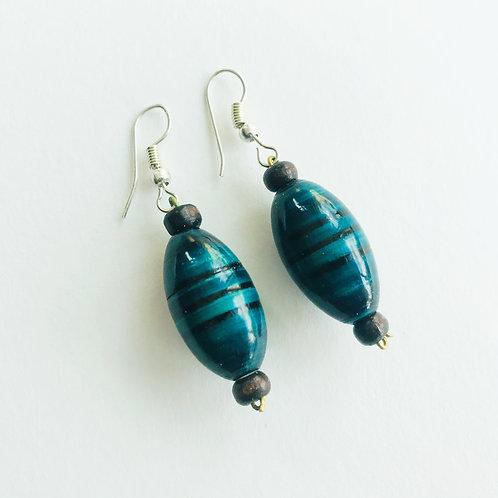 Handmade Drop Earrings - Ocean Green