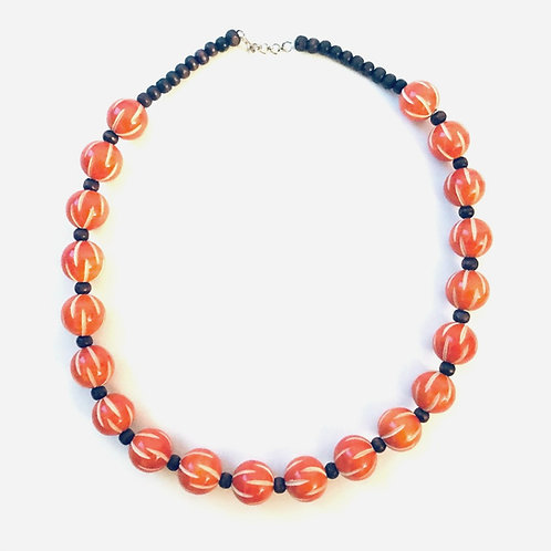 Handmade Wooden Necklace - Mandarin Orange