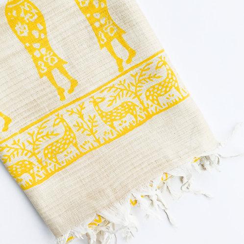 Warli Cotton Scarf - Yellow