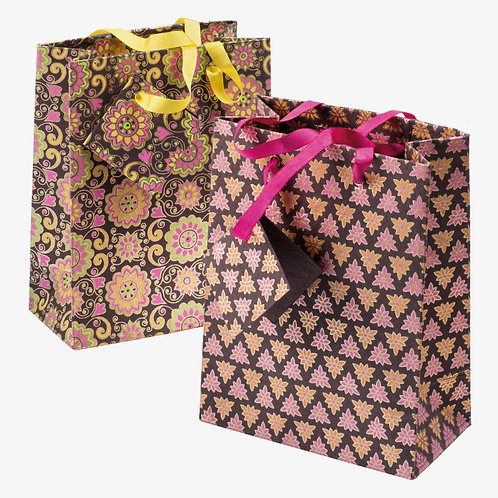 Handmade Paper Gift Bags - Pink (Set of 2)