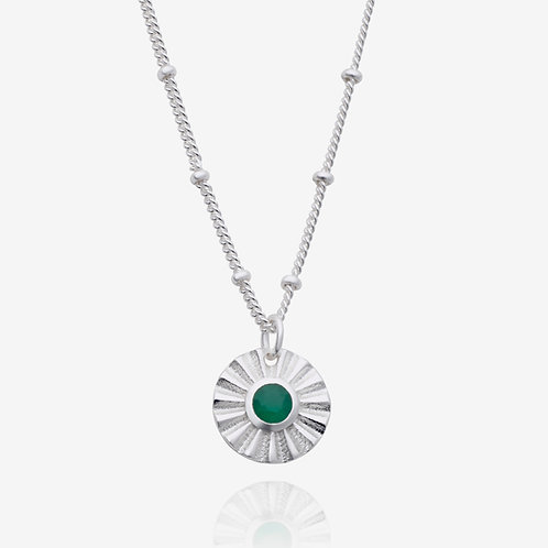 Handcrafted Gemstone Coin Necklace - Silver