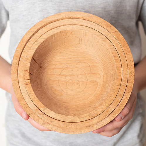 Eco-friendly Wooden Porridge Bowl Set