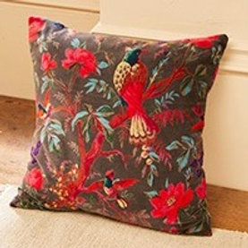 Birds of Paradise Cushion Cover - Slate Grey