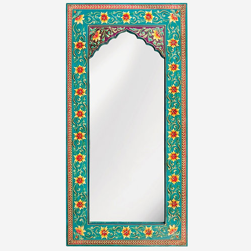 Hand Painted Turquoise Floral Wall Mirror - Long