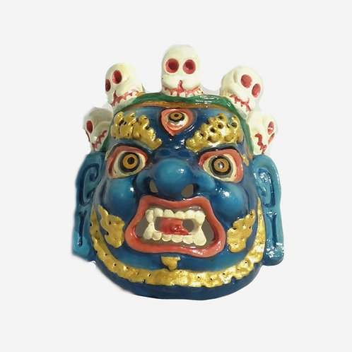 Hand-painted Traditional Bhutanese Mask - Blue
