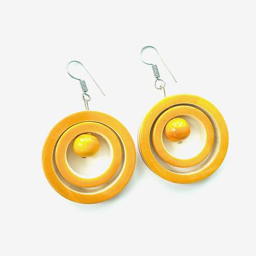 Handmade Drop Earrings - Yellow Rings