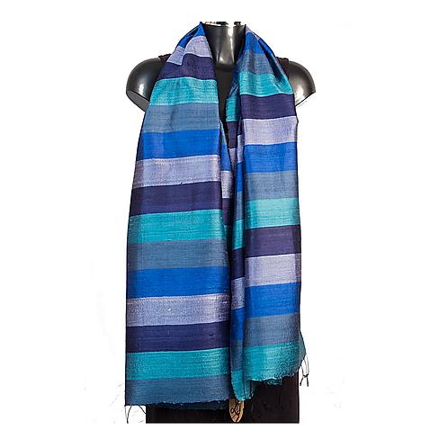 Handwoven Raw Silk Scarf - Blue