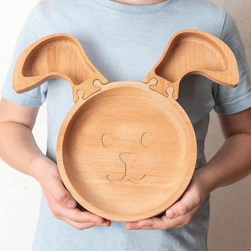 Eco-friendly Kids Wooden Jigsaw Rabbit Plate