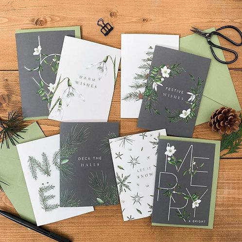 Xmas Tree Christmas Cards (Set of 4 Assorted Cards)