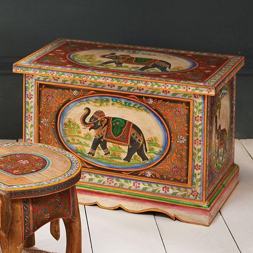 Hand Painted Elephant Storage Box