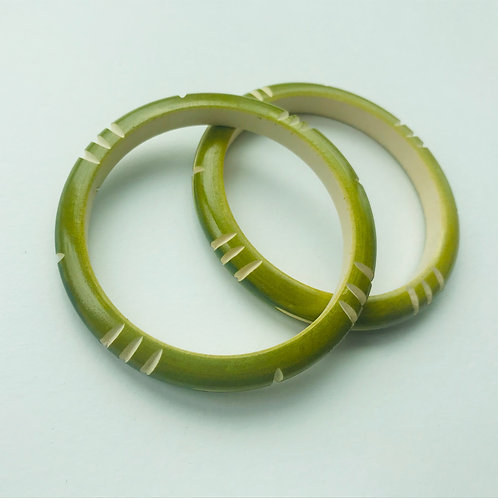 Handmade Wooden Bangles - Green