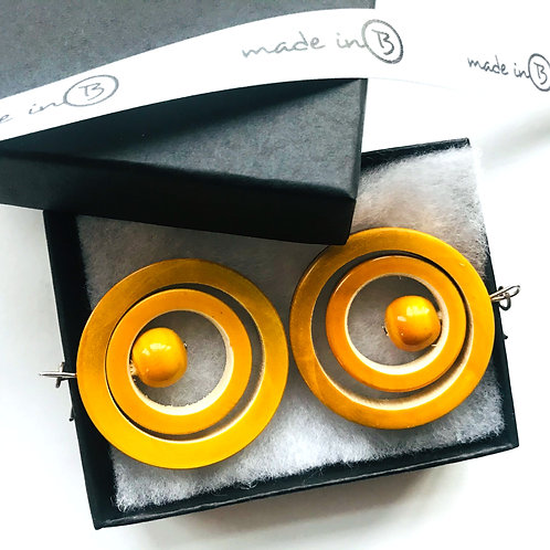 Handmade Drop Earrings - Yellow Rings