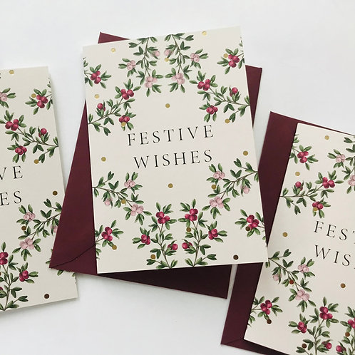 Festive Wishes Christmas Cards (Set of 4)